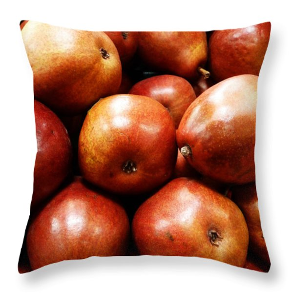 Red Pears Throw Pillow by Methune Hively