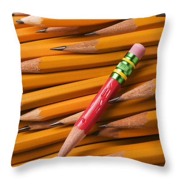 Red Pencil With Yellow Ones Throw Pillow by Garry Gay