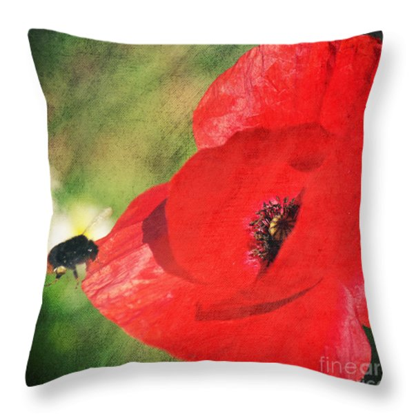Red poppy impression Throw Pillow by Angela Doelling AD DESIGN Photo and PhotoArt