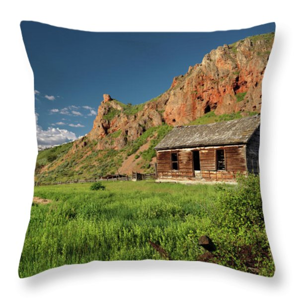 Red Rock Cabin Throw Pillow by Leland D Howard