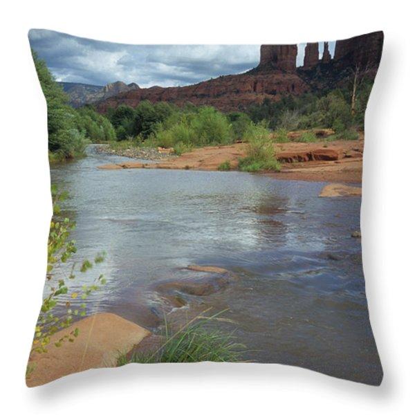 Red Rock Crossing In Sedona, Arizona Throw Pillow by David Edwards