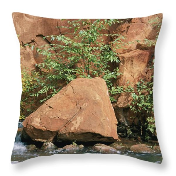Red Rocks, Fall Colors And Creek, Oak Throw Pillow by Rich Reid