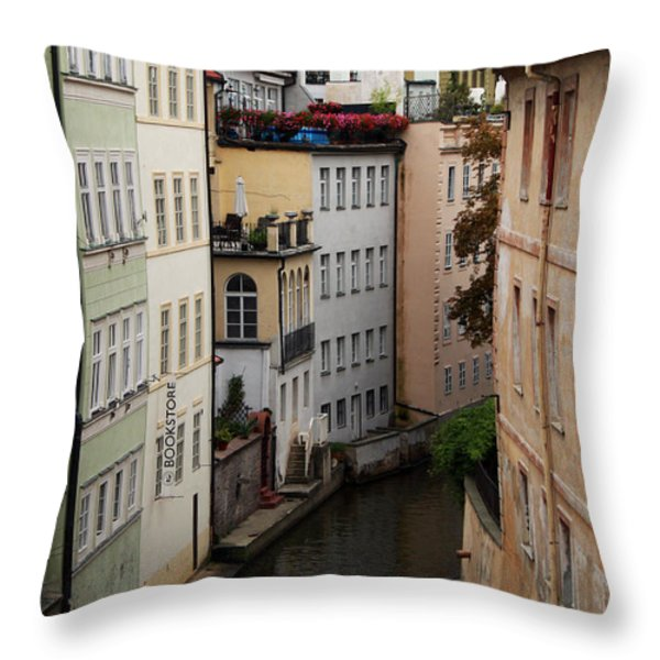 Red Rooftops In Prague Canal Throw Pillow by Linda Woods
