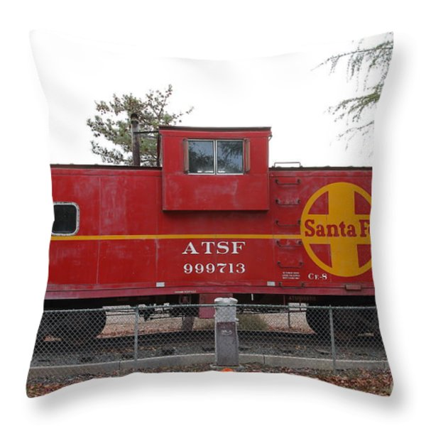 Red Sante Fe Caboose Train . 7D10328 Throw Pillow by Wingsdomain Art and Photography
