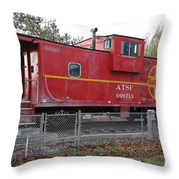 Red Sante Fe Caboose Train . 7D10329 Throw Pillow by Wingsdomain Art and Photography