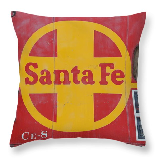 Red Sante Fe Caboose Train . 7D10333 Throw Pillow by Wingsdomain Art and Photography