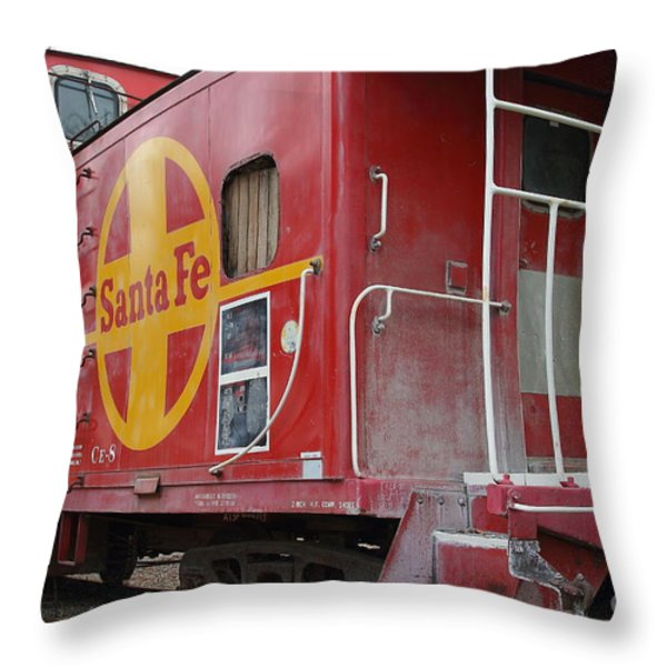 Red Sante Fe Caboose Train . 7D10334 Throw Pillow by Wingsdomain Art and Photography