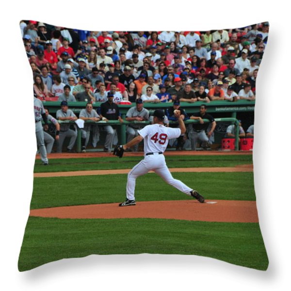 Red Sox Retiree Tim Wakefield Throw Pillow by Mike Martin