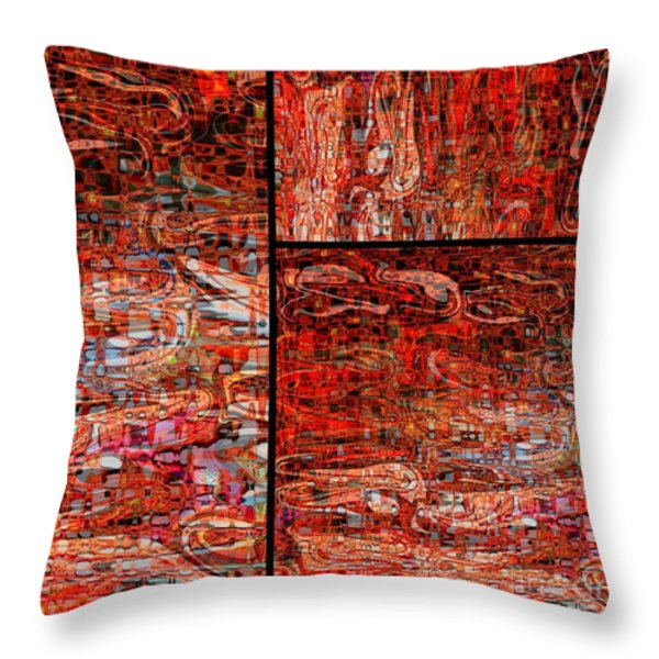 Red Splashes Swishes and Swirls - Abstract Art Throw Pillow by Carol Groenen