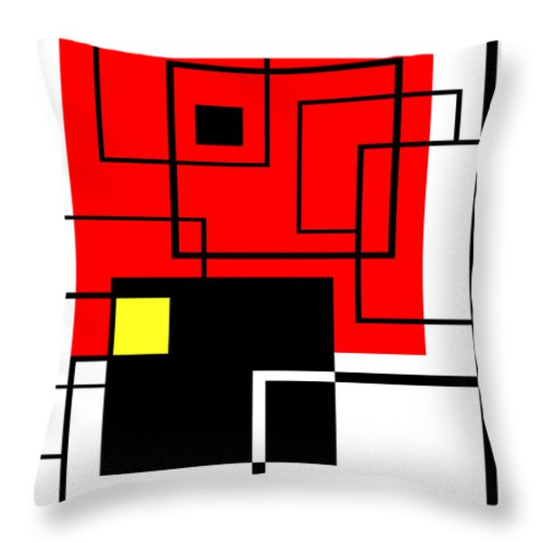 Red Square A La Mondrian Throw Pillow by Ginny Schmidt
