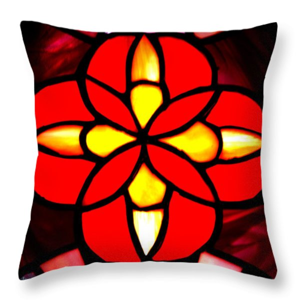 Red Stained Glass Throw Pillow by LeeAnn McLaneGoetz McLaneGoetzStudioLLCcom
