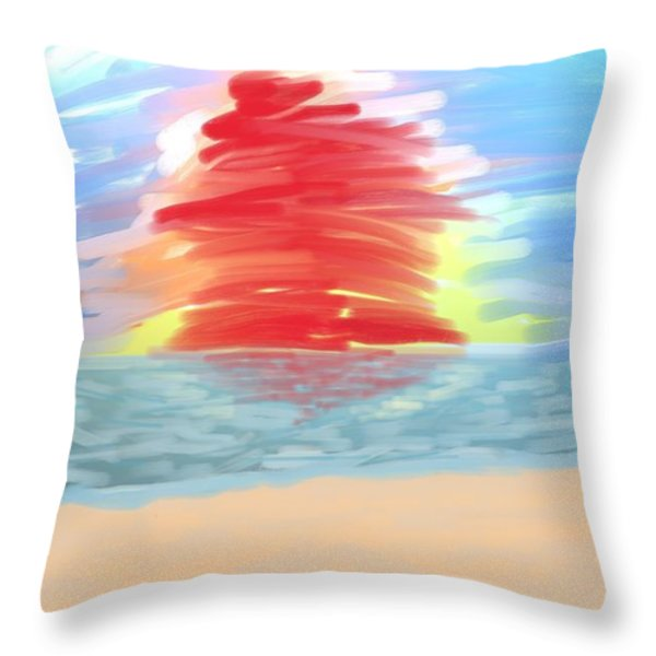Red Sun Setting Throw Pillow by Heidi Smith