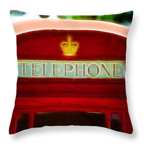 Red Telephone Box Throw Pillow by Chris Thaxter