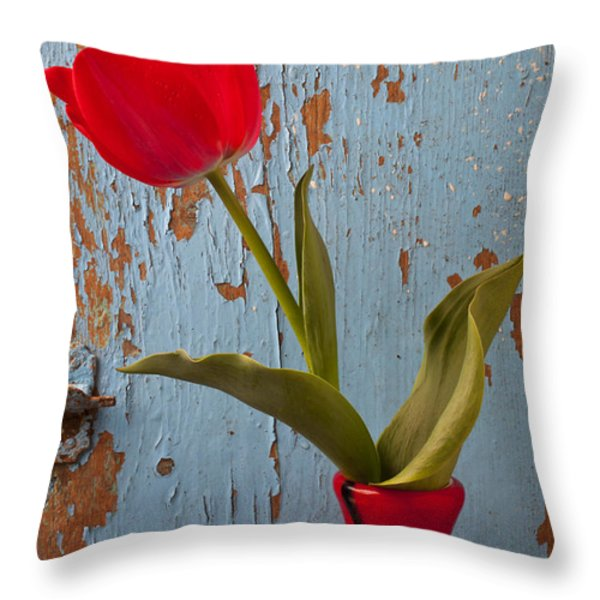 Red Tulip Bending Throw Pillow by Garry Gay