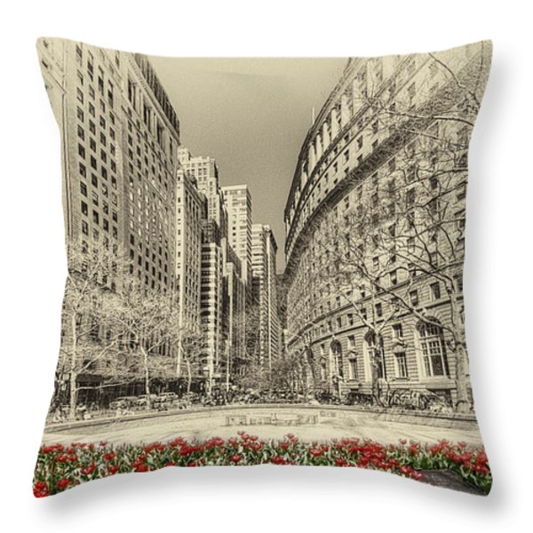 Red Tulips Throw Pillow by Svetlana Sewell