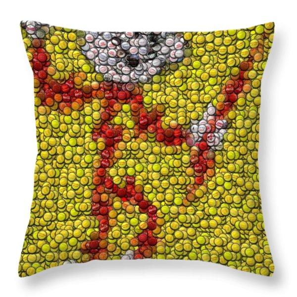 Reddy Kilowatt Bottle Cap Mosaic Throw Pillow by Paul Van Scott