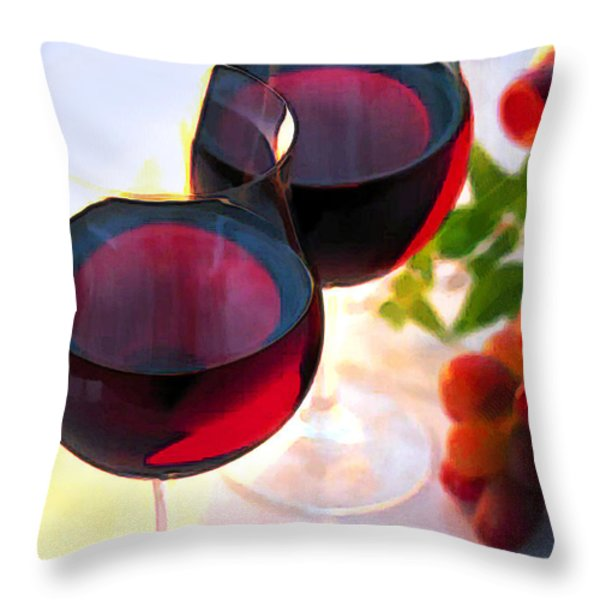 Reds At Afternoon Throw Pillow by Elaine Plesser