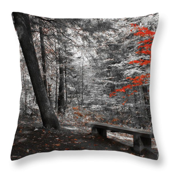 Reds In The Woods Throw Pillow by Aimelle