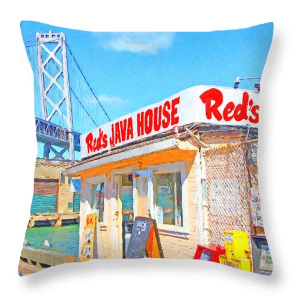 Reds Java House and The Bay Bridge at San Francisco Embarcadero Throw Pillow by Wingsdomain Art and Photography