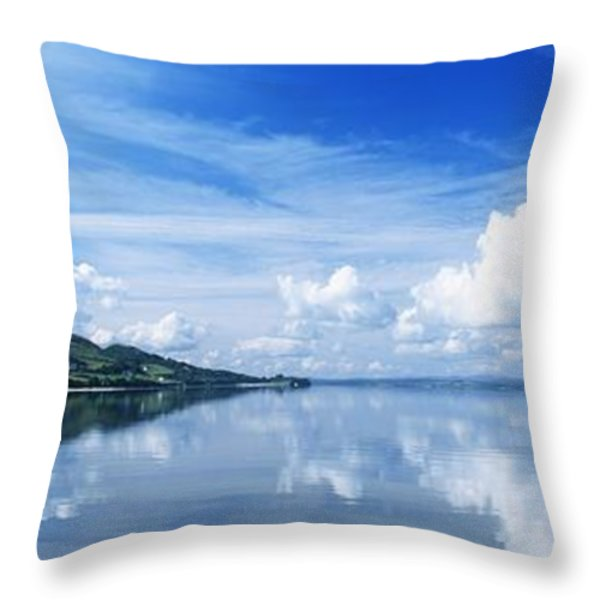 Reflection Of Clouds In Water, Lough Throw Pillow by The Irish Image Collection