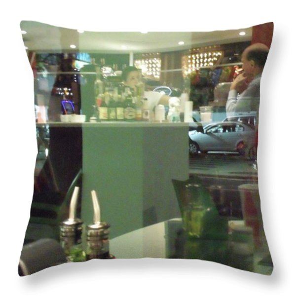 Reflection of Man Drinking a Beer II Throw Pillow by Anna Villarreal Garbis