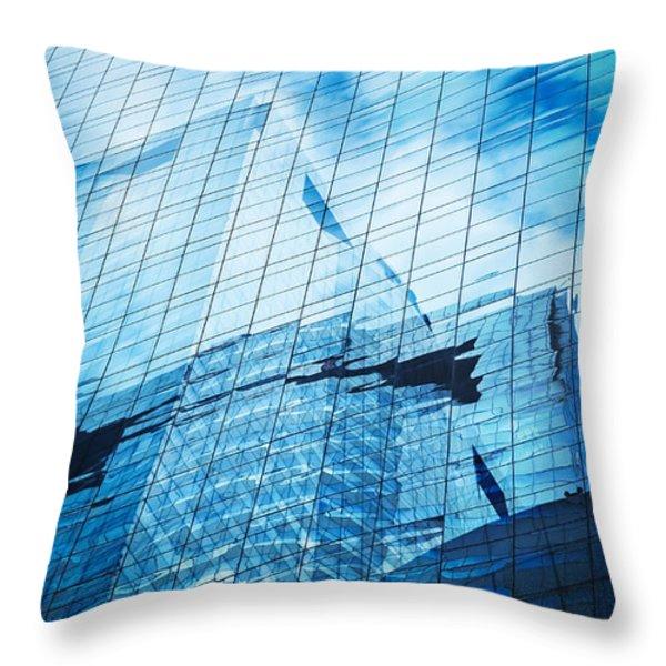 Reflection Of Skyscraper  Throw Pillow by Setsiri Silapasuwanchai