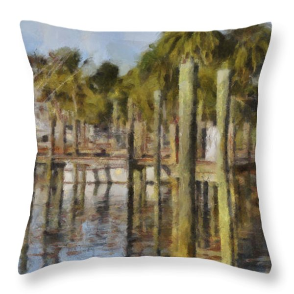 Reflections At Fort Pierce Throw Pillow by Trish Tritz