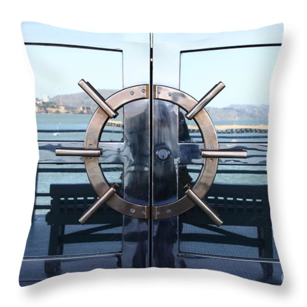 Reflections Of Alcatraz Island At The Maritime Museum In San Francisco California . 7d14080 Throw Pillow by Wingsdomain Art and Photography