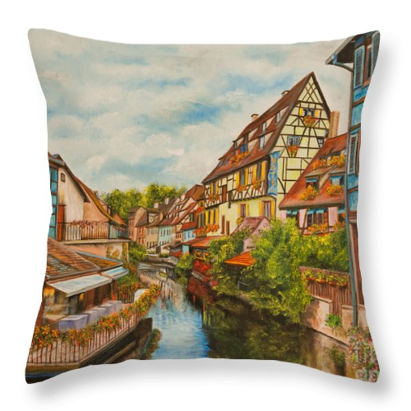 Reflections of Colmar Throw Pillow by Charlotte Blanchard