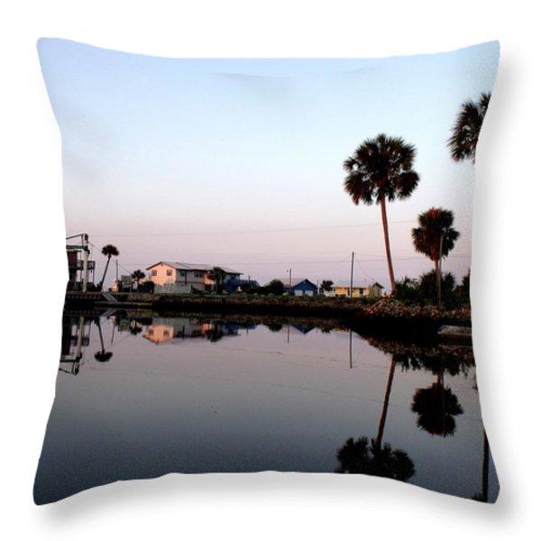 Reflections Of Keaton Beach Marina Throw Pillow by Marilyn Holkham