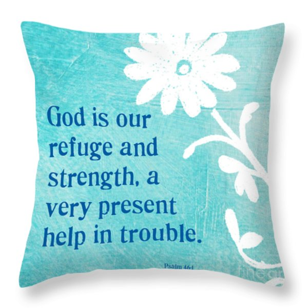 Refuge and Strength Throw Pillow by Linda Woods
