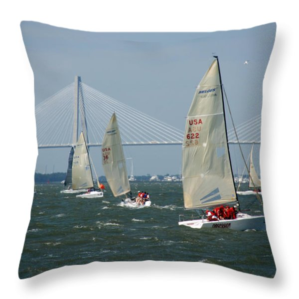 Regatta In Charleston Harbor Throw Pillow by Susanne Van Hulst