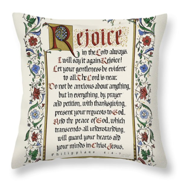 Rejoice II Throw Pillow by Judy Dodds