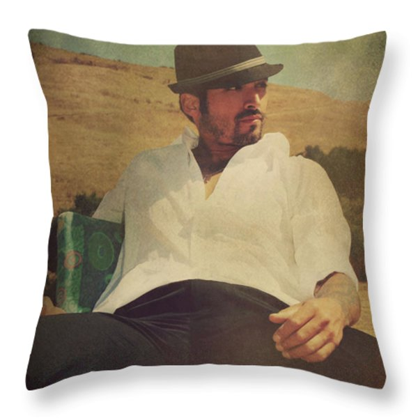 Relax And Stay A While Throw Pillow by Laurie Search