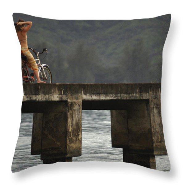 Relaxed Ride Hanalei Bay Throw Pillow by Bob Christopher