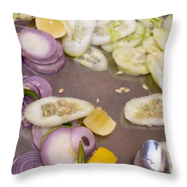 Remains Of A Salad After A Hearty Meal Throw Pillow by Ashish Agarwal