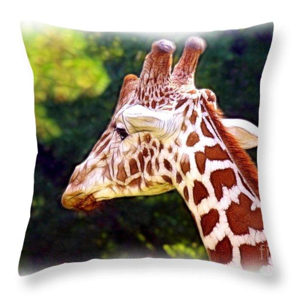 Reticulated Giraffe Throw Pillow by Judi Bagwell