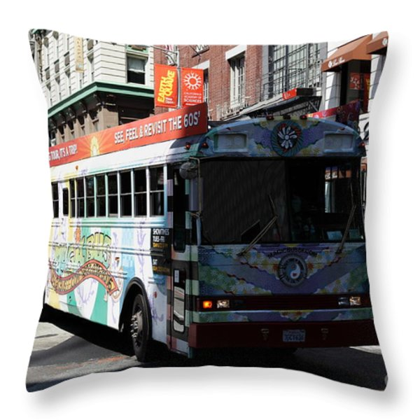 Retro 60s San Francisco Haight Ashbury Magic Bus - 5d18009 Throw Pillow by Wingsdomain Art and Photography
