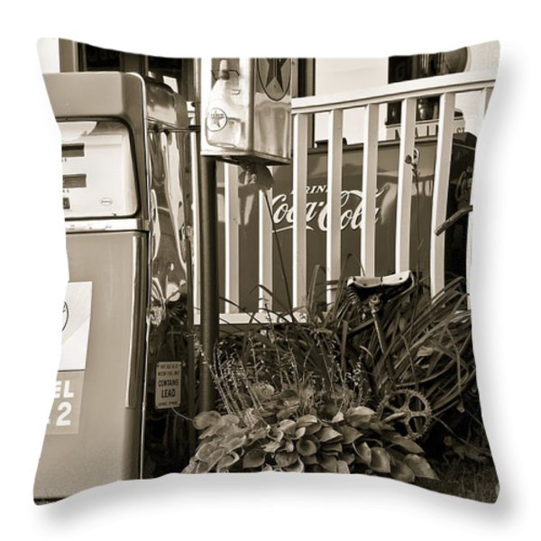 Retro Fuel For Life Throw Pillow by Brenda Giasson