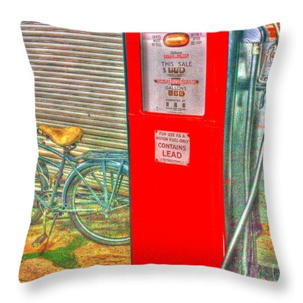 Retro Gas Pump - Color Throw Pillow by Dan Stone