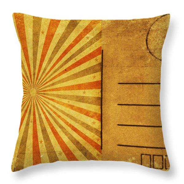 retro grunge ray postcard Throw Pillow by Setsiri Silapasuwanchai
