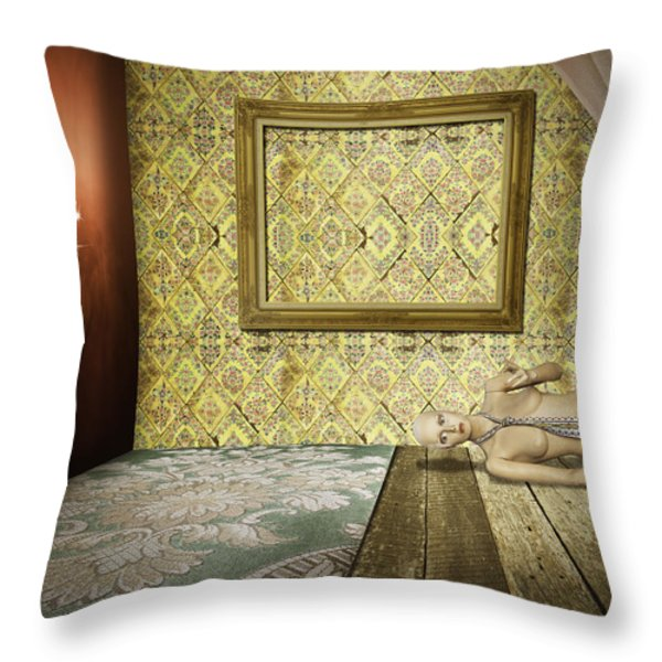 retro room interior Throw Pillow by Setsiri Silapasuwanchai