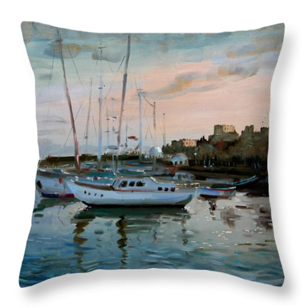 Rhodes Mandraki Harbour Throw Pillow by Ylli Haruni