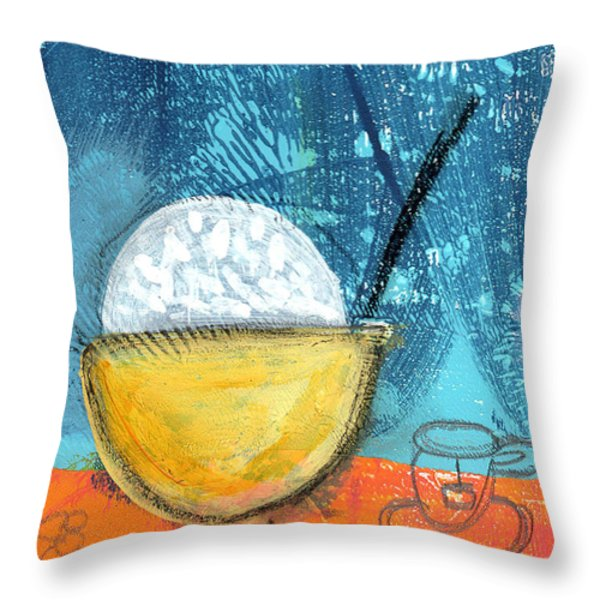 Rice And Tea Throw Pillow by Linda Woods