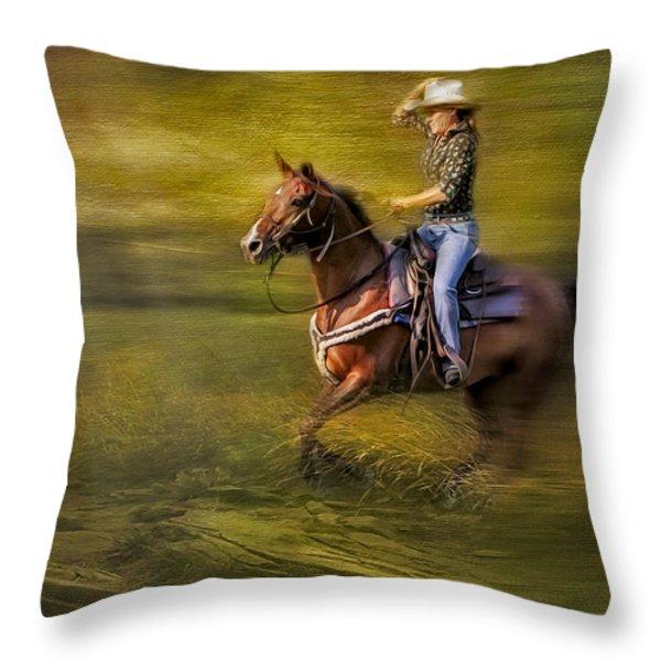 Riding Thru The Meadow Throw Pillow by Susan Candelario