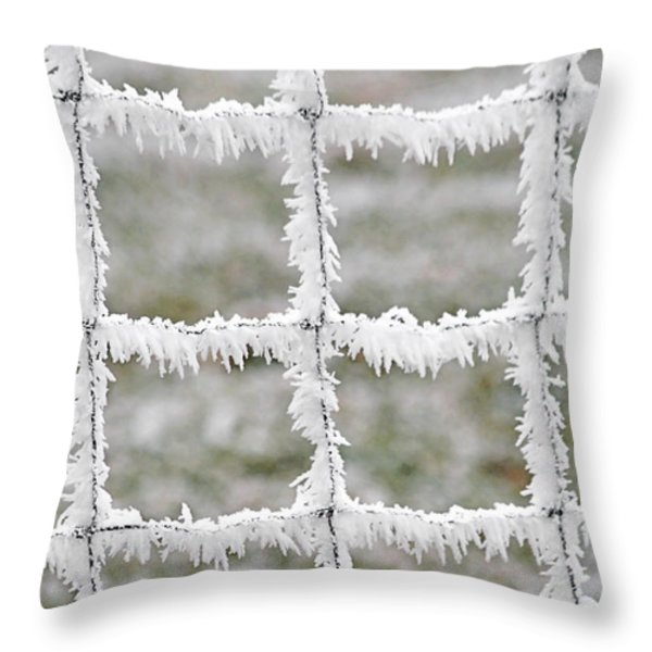 Rime covered fence Throw Pillow by Christine Till