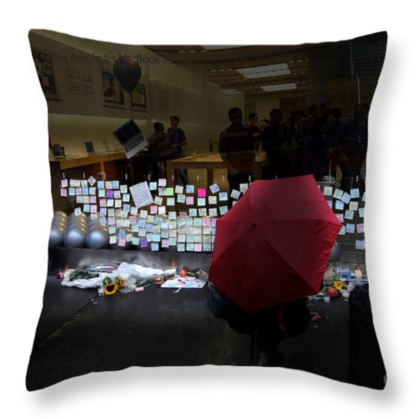 RIP Steve Jobs . October 5 2011 . San Francisco Apple Store Memorial 7DIMG8558.highlighted Throw Pillow by Wingsdomain Art and Photography