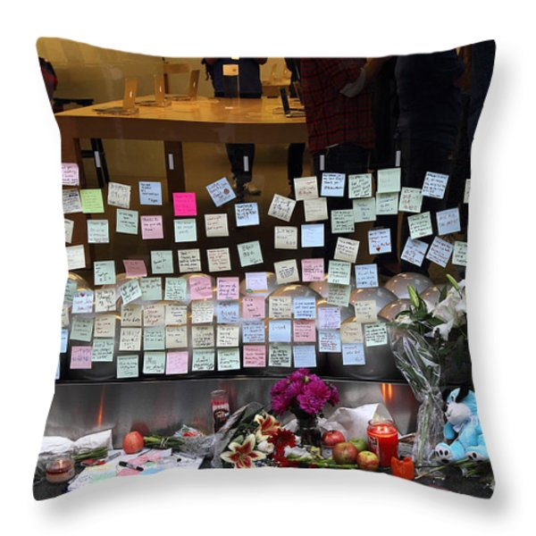 RIP Steve Jobs . October 5 2011 . San Francisco Apple Store Memorial 7DIMG8561-1 Throw Pillow by Wingsdomain Art and Photography