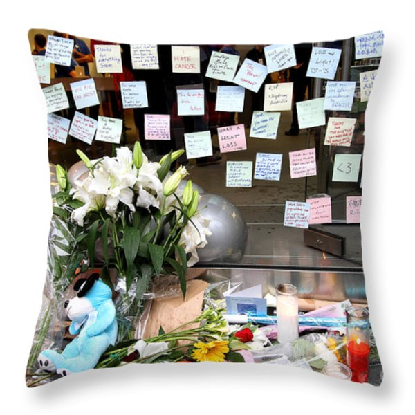 RIP Steve Jobs . October 5 2011 . San Francisco Apple Store Memorial 7DIMG8574 Throw Pillow by Wingsdomain Art and Photography