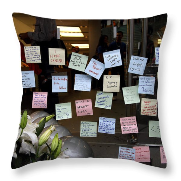 RIP Steve Jobs . October 5 2011 . San Francisco Apple Store Memorial 7DIMG8575 Throw Pillow by Wingsdomain Art and Photography